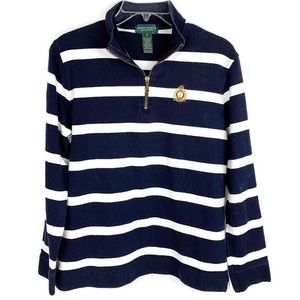 Ralph Lauren Navy Blue and White Striped Sweater